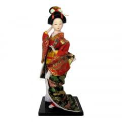 Boneca Japonesa Gueixa Artesanal com Kimono Vermelho, Preto e Leque Fechado