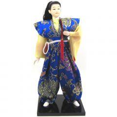 Boneco Japonês Samurai com Kimono Amarelo e Azul e Espada - 30 cm