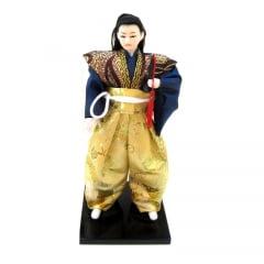 Boneco Japonês Samurai com Kimono Dourado e Azul e Espada - 30 cm