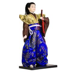 Boneco Japonês Samurai com Kimono Dourado, Marrom Azul e Espada - 30 cm