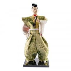 Boneco Japonês Samurai Invocado com Kimono Dourado e Branco Oriental - 30 cm