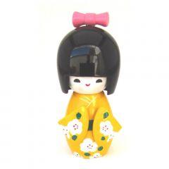 Boneca Japonesa Kokeshi  Amarela (11cm) - KMAS