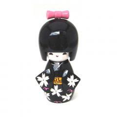 Boneca Japonesa Kokeshi  Preta (11cm) - KMPM