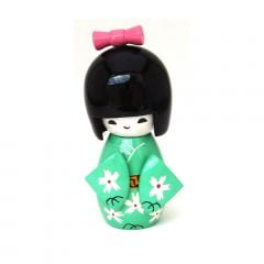 Boneca Japonesa Kokeshi  Verde Claro  (11cm) - KMVM