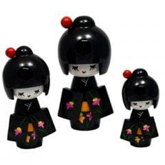 Trio de Boneca Japonesa Kokeshi Preta - Detalhes Florais