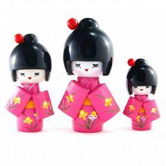 Trio de Boneca Japonesa Kokeshi Rosa - Detalhes Florais