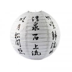 Luminária Oriental Branca Ideogramas Kanji - 30cm
