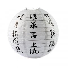 Luminária Oriental Branca Ideogramas Kanji - 40cm
