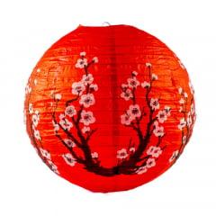 Luminária Oriental Vermelha Sakura - 40 cm