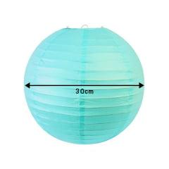 Luminária Oriental Azul Claro Nylon - 30 cm