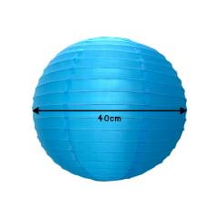Luminária Oriental Azul  Nylon - 40 cm