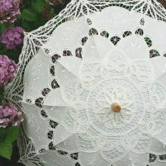 Sombrinha Oriental Branca Renda - 65cm