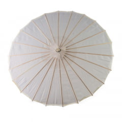 Sombrinha Oriental Branca Lisa Nylon - 83 cm x 54 cm