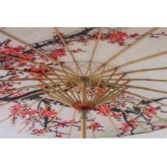 Sombrinha Oriental Branca Sakura Estampada - 83 cm x 54 cm