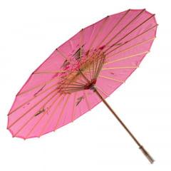 Sombrinha Oriental Rosa - 83 cm x 54 cm
