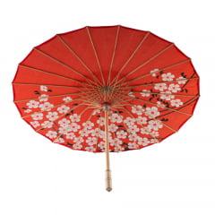 Sombrinha Oriental Vermelha Sakura Estampada - 83 cm x 54 cm