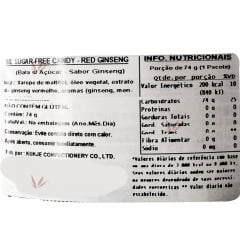 Bala Coreana Premium Sem Açúcar Sabor Red Ginseng Melland - 92 gramas