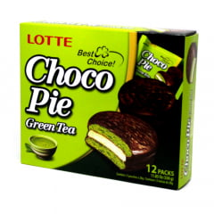 Choco Pie Bolinho de Chocolate e  Chá Verde Lotte  336 Gramas - 12 unidades
