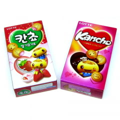Kit Biscoito Kancho Recheado - Morango e Chocolate