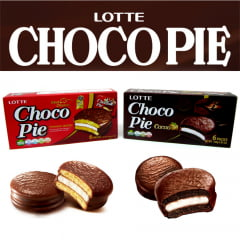 Kit Chocopie Alfajor Bolinho de Chocolate e Marshmallow Lotte 168g - 2 Sabores