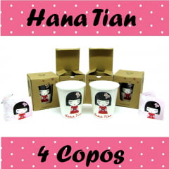kit Copos Decorativos Hana Tian Boneca - 4 Unidades