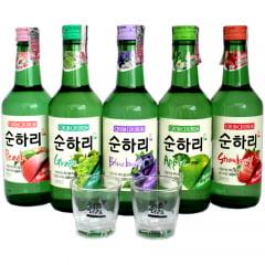 kit de Bebida Alcoólica Coreana Soju Chum Churum - 5 Sabores + 2 Copos Brinde