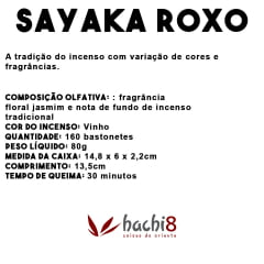 Incenso Sayaka Roxo