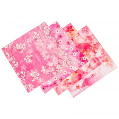 Papel de Origami Dupla Face Rosa Flores Estampas Variadas 17x17cm - 50 unidades