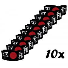 Faixa Japonesa Hachimaki para Sushiman Heiwa PAZ Preta - 10 Unidades