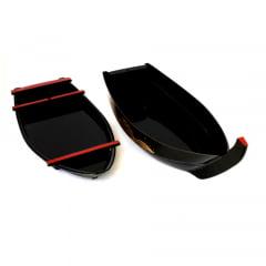 Barco Para Sushi Sashimi Preto ABS Base Gelo - 45x18cm
