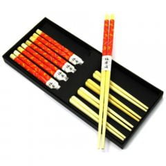 Jogo de Hashi  (Palitinho Japonês) Vermelho Libélula - 5 unidades