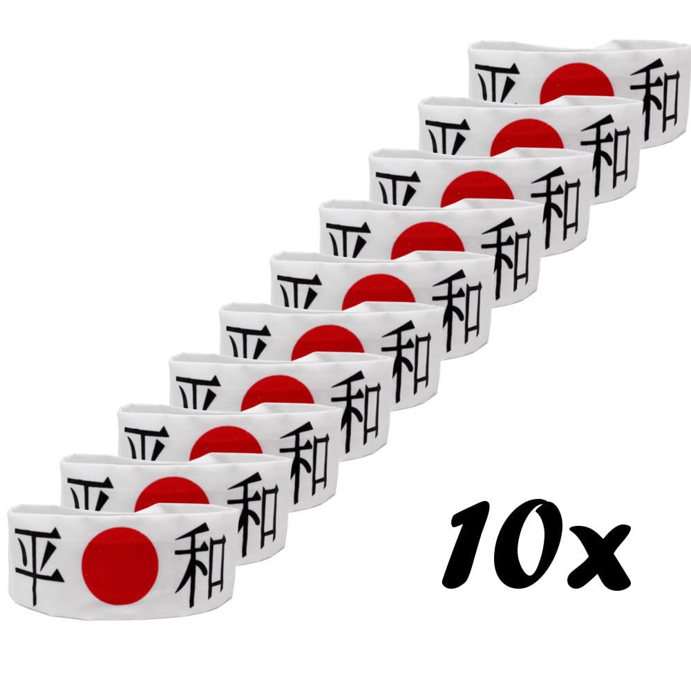 Faixa Japonesa Hachimaki para Sushiman Heiwa PAZ Branca - 10 Unidades