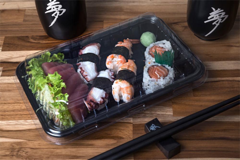 Embalagem Descartável Combinado 02 para Comida Japonesa - 200 unidades