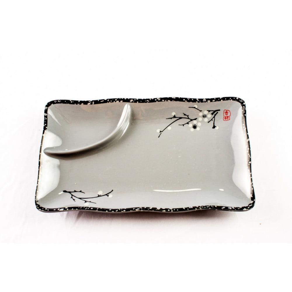 Prato para Sushi e Sashimi com Divisória - Flor Sakura
