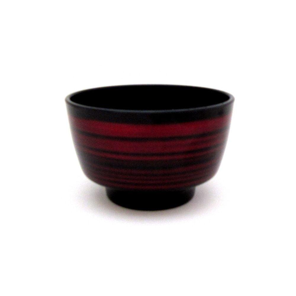 Xícara Japonesa para Chá (Kobati) Médio Preto e Vinho- Listrado
